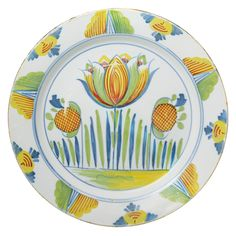 Antique Period English Delftware Polychrome Tulip Charger C1700 | From a unique collection of antique and modern dinner plates at http://www.1stdibs.com/furniture/dining-entertaining/dinner-plates/