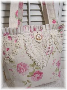 French Roses Linen tote purse
