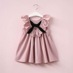 Dusty Pink Baby Girl Dress Ruffle Collar Children Clothes Backless Kids Clothes Summer Girls Dress with Bow Cute Toddler Dress