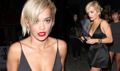Single Rita Ora wears low cut LBD following split from Calvin Harris. on the prowl for a new wallet
