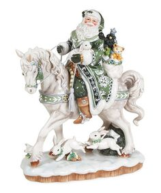 Take a look at this Winter Garden Santa on Horse Figurine by Fitz and Floyd on #zulily today!