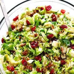 Brussels Sprouts, Cranberry and Quinoa Salad