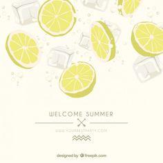 レモンのスライスを持つ夏のポスター 無料ベクター