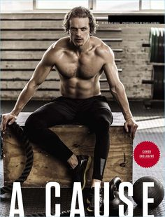 Going shirtless, Sam Heughan shares his ripped abs with Men's Health South Africa.