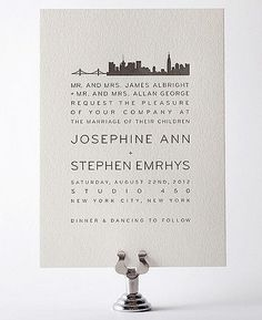 New York City Skyline Letterpress Wedding Invitation