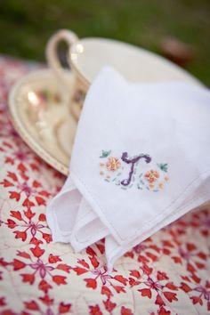 Flower & Vines - Hand-Embroidered Handkerchief - Custom Order.