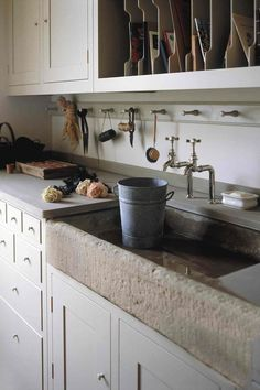 plain english kitchen Design ideas for utility rooms. Boot rooms, laundry rooms and flower rooms to style up the hardest working rooms in the house. Flower Room, Room Design, Mediterranean Kitchen, Kitchen Remodel, Stone Sink Kitchen, Mediterranean Kitchen Sinks, Mediterranean Kitchen Tiles, Utility Room Designs, Kitchen Design