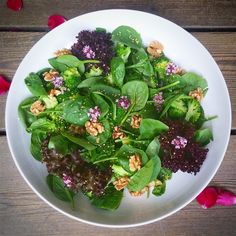 Broccoli, spinach, thyme, walnuts, sesame seeds, oregano flowers, lemon, honey, olive oil and white pepper.