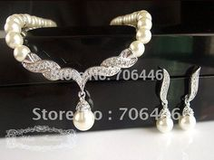 Cheap necklace jewelry, Buy Quality jewelry set directly from China jewelry set silver Suppliers: Cream Pearl Wedding Jewelry Set Women's Necklace Bracelet and Earrings SetsUS $ 15.89/setIvory Pearl Silver Plated Spark