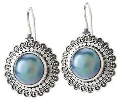 Artisan Crafted Sterling Cultured Mabe Pearl   Earrings