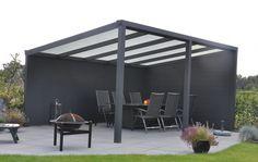 Alu-Terrassendach mit Polycarbonatbedachung  Breite: 4 m - Freistehend Alu-Überdachungen Pultdächer für Terrassen mit Polycarbonatbedachung - Freistehend