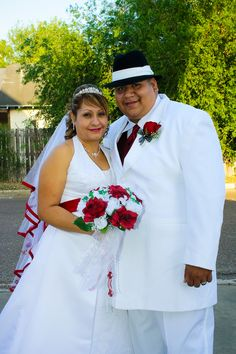 Red, black and white wedding couple