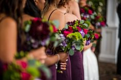 Bridal party bouquets, wedding flowers, wine theme, pops of color, Betina's at Parkview