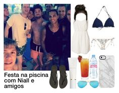 """""""Sem título #77"""" by wifeofniall17 ❤ liked on Polyvore featuring Eve Lom, Uncommon, Jeane Blush, Ray-Ban, Havaianas, Zimmermann and Evian"""