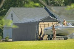 Shelter Logic 12 x 24 x 10 Peak Style Portable Garage Canopy by Shelter Logic. $832.95