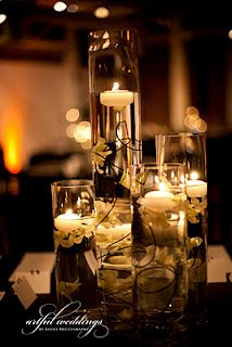 Candlescape with floating candles.