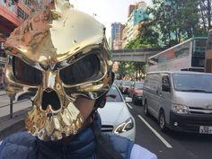Masei 489 Gold Chrome Skull Face Helmet