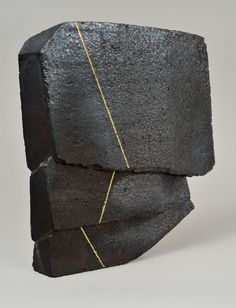 Jonathan Cross, Formation II, Black stoneware, salt fired, gold enamel