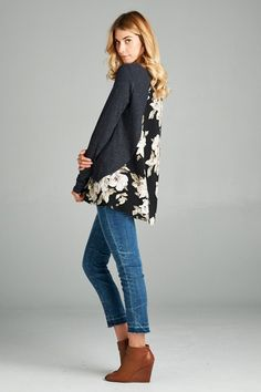 OBSESSED with this new Charcoal Floral L...!!  Order it today with FREE SHIPPING at http://wildtyboutique.com/products/charcoal-floral-long-sleeve?utm_campaign=social_autopilot&utm_source=pin&utm_medium=pin