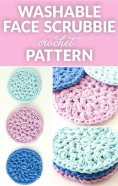 Save the environment and add a homemade touch and with this quick and easy pattern for reusable crochet face scrubbies. These washable cotton face cleansing pads are great for removing makeup and clea Scrubbies Crochet Pattern, Crochet Dishcloths, Crochet Stitches, Diy Crochet Face Scrubbies, Cotton Crochet Patterns, Loom Patterns, Crochet Edgings, Cross Stitches, Crochet Motif