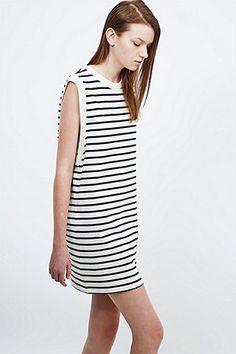 Petit Bateau Mariniere Stripe Sleeveless Dress in White and Navy