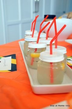 DIY some kid-sized mason jar cups.   23 Insanely Cool Things You Can Do With Baby Food Jars