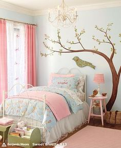 childrens rooms, Patel, green bird, tree on wall, pink night stand, baby blue