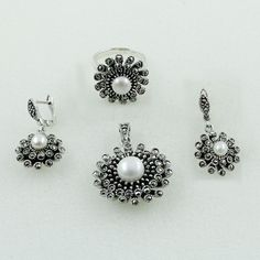 925 STERLING SILVER JEWELRY SET FOR GIRL'S IN MARCASITE & PEARL STONE #SilvexImagesIndiaPvtLtd