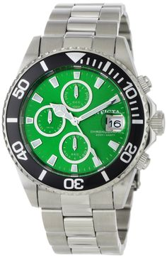 Invicta Men's 1005 Pro Diver Chronograph Green Dial Stainless Steel...