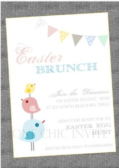 Easter Bunting Chick Invitation