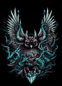 Heaven Shall Burn album artwork by Dan Mumford. Dark Fantasy Art, Dark Art, Dan Mumford, Owl Artwork, Owl Wallpaper, Fu Dog, Satanic Art, Occult Art, Alien Tattoo