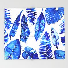 Buy Jungle Leaves & Ferns in Blue Throw Blanket by lostmarketplace. Worldwide shipping available at Society6.com. Just one of millions of high quality products available.