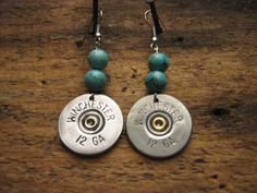 Bullet Earrings -  Upcycled Winchester Shotgun Shell Jewelry - Turquoise - Silver
