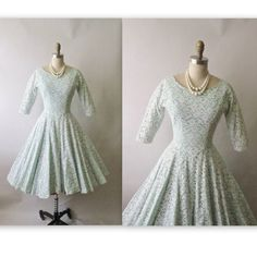 Vintage 1950's White Lace Full Wedding  Dress XS. via Etsy.