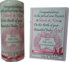 personalised new baby candle and card set xmx