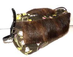 Unikat Tasche! Blumiger Samt mit Fell von TaschenWelten auf DaWanda.com