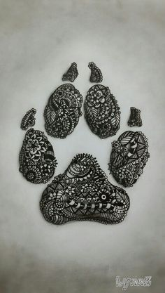 Monochromatic Zentangle Dog Paw