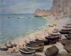 Boats on the Beach at Etretat - Claude Monet. Completion Date: 1883. Style: Impressionism. Genre: landscape.
