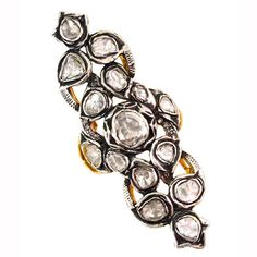 Rose Cut Diamond Pave 14k Yellow Gold Ring Sterling Silver Vintage Look Jewelry #Handmade