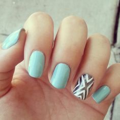 Tiffany blue with an Aztec accent nail by Angelina Banar