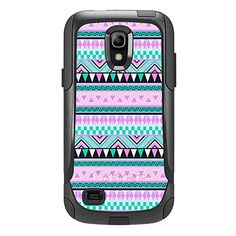 Skin Decal for Otterbox Commuter Samsung Galaxy S4 Mini Case - Aztec Andes Mauve and Teal Pattern Design