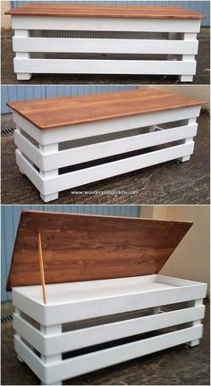 Dazzling Wooden Pallet Recycling Ideas - DIY Projects, Diy And Crafts, Besides setting your living room with the costly use of furniture design in it, you can create a wood pallet brilliant table with storage piece as at . Wood Pallet Recycling, Wooden Pallet Projects, Wood Pallet Furniture, Wooden Pallets, Wooden Diy, Furniture Projects, Diy Furniture, Furniture Design, Recycling Ideas