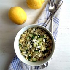 Refreshing pasta salad with lemon, cucumbers and feta.