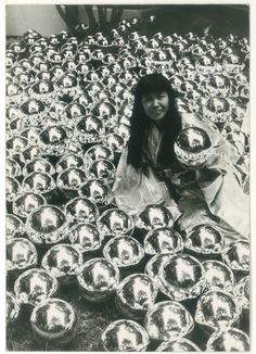 """Narcissus Garden"" Image from Love Magazine (UK) Narcissus Garden 1966 © Yayoi Kusama and © Yayoi Kusama Studios Inc."