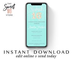 Text Message Invitation Sweet 16 | Sweet Sixteen SMS invitation | Teal 16th Birthday Email or text invite | Editable Instant Download file Birthday Email, 16th Birthday, Boyfriend Texts, Boyfriend Quotes, Text Message Invitations, Sweet Text Messages, Guy Best Friend, Edit Online, Sweet Texts