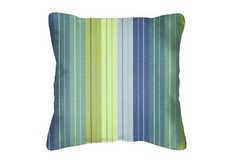 #Throw #pillows sunbrella seville seaside 5608 (set/2) blue striped square #acryl,  View more on the LINK: http://www.zeppy.io/product/gb/2/121216104867/