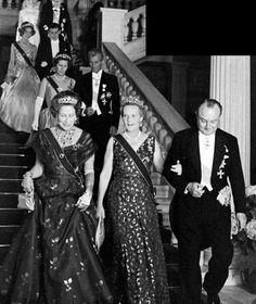 Princess Eugenie, left, at the Athens wedding, chatting to Princess Margarete Bourbon Parma