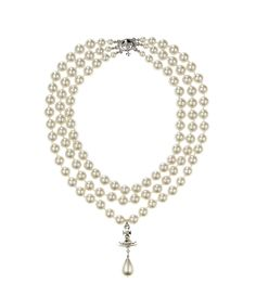 Three Row Pearl Drop Choker Silver