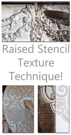 Learn thisRaised Stencil Texture Technique - it's fast and easy! Paint Furniture, Furniture Projects, Furniture Makeover, Diy Projects, Stenciling Furniture, Furniture Stores, Faux Painting, Painting Tips, Painting Techniques