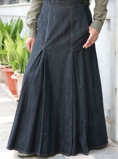 Denim Flared Box Pleat Skirt